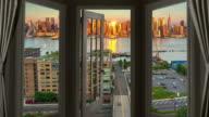 Window view New York Manhattan time lapse cityscape skyscraper dusk