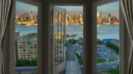 Window view New York Manhattan time lapse cityscape skyscraper sunset
