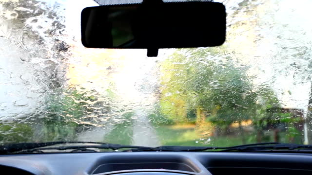 Windshield wipers at rainy weather