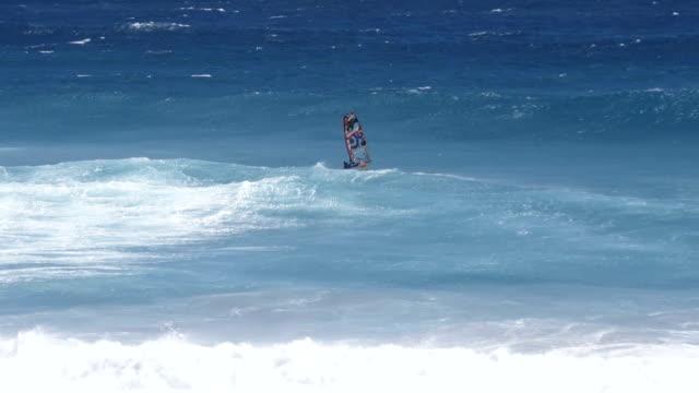 Windsurfer in big waves, Slow Motion