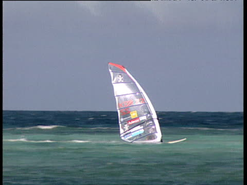 Windsurfers racing from starting line and quickly negotiating around buoys that set the course Boracay