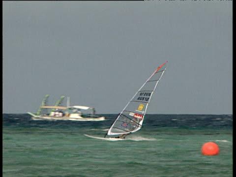 Windsurfers speeding along in race includes shots from helmet camera Boracay