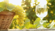 HD DOLLY: Wine Glass And Basket Of Grapes