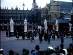 Winston Churchill State Funeral 3011965 London Westminster EXT Coffin of Sir Winston Churchill carried along outside Westminster Hall draped in Union...