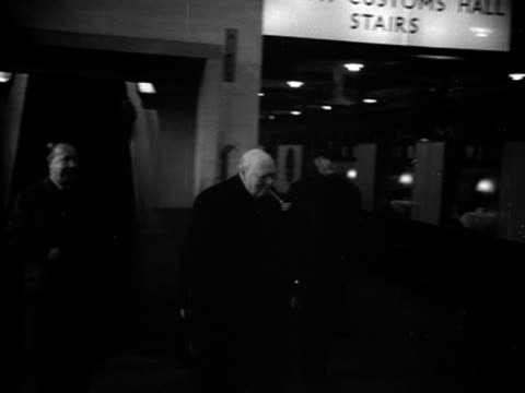 Winston Churchill walks through Southampton train station