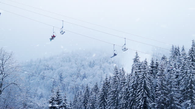 Winter forest snowing ski resort funicular