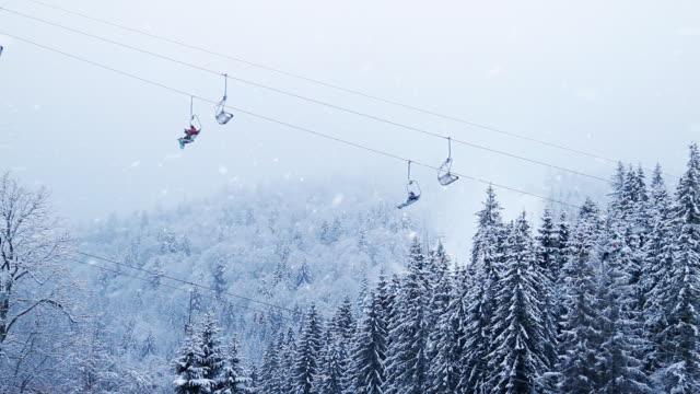 Winter forest snowing ski resort funicular