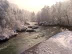 Winter in Slowenien von air, Tal der Fluss Sava