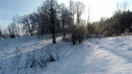 Winter landscape. Walking on rough terrain.