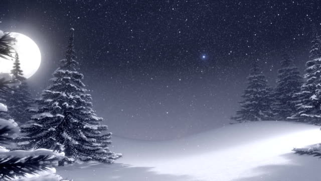 Winter landscape with white Christmas tree and space for text.