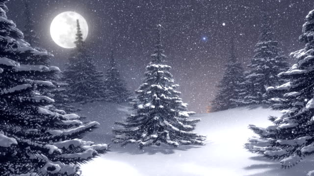 Winter landscape with white Christmas tree decorated by polar star.