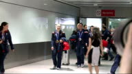 Team GB arrive back at Heathrow / Lizzy Yarnold interview ENGLAND London Heathrow Airport PHOTOGRAPHY*** GVs Winter Olympics Team GB members along in...