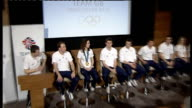 Amy Williams returns to the UK Wide shot of Team GB athletes sitting at press conference / ZOOM IN on Williams Williams press conference SOT I don't...