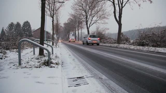 (CRANE UP) Winter road