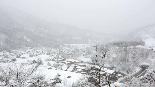 Winter Shirakawago met sneeuwval Gifu Chubu Japan
