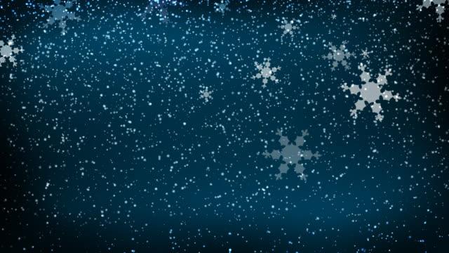 Winter Snow Falling on Blue