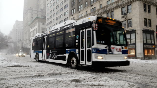 Winter storm Stella hits the Northeast of the United States / 5th Avenue – 59th Street Midtown Manhattan New York City USA / MTA Public...