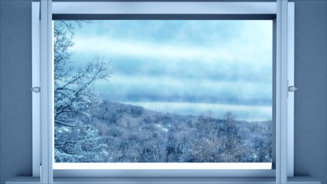 Winter through opening window