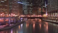 Winter Weather In Downtown Chicago With Icy Chicago River at night on Jan 7 2015