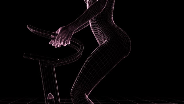 (HD1080) WireFrame Fitness Model Stepping