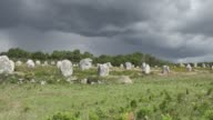 With dark clouds Carnac is a commune beside the Gulf of Morbihan on the south coast of Brittany in the Morbihan department in northwestern France Its...