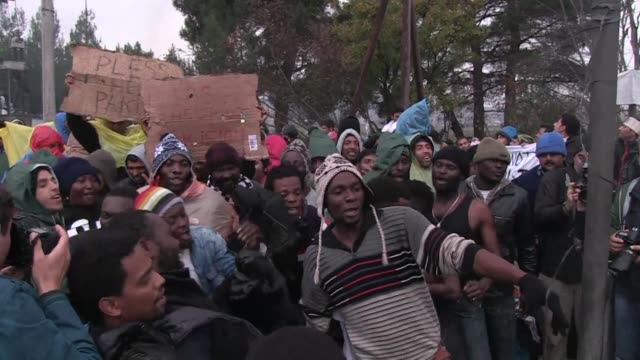 With hundreds of migrants stuck at the Greek Macedonian border a group of Africans mainly from Cameroon Congo and Cape Verde protest against the...