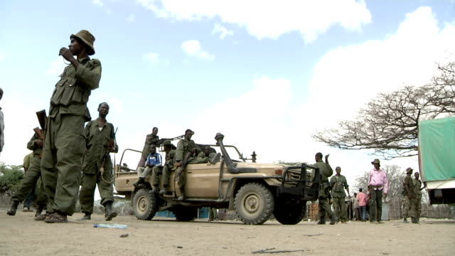 with militia men in it leaving site Somali militia pickup truck on July 31 2011 in Dhoobley Somalia