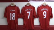 with players' shirts hanging on hooks including the shirts of Kuyt Carroll Gerrard Cole and Suarez Interior Liverpool FC Dressing Room at Anfield on...