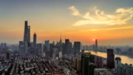 with the sunshine and clouds above the horizon in Shanghai