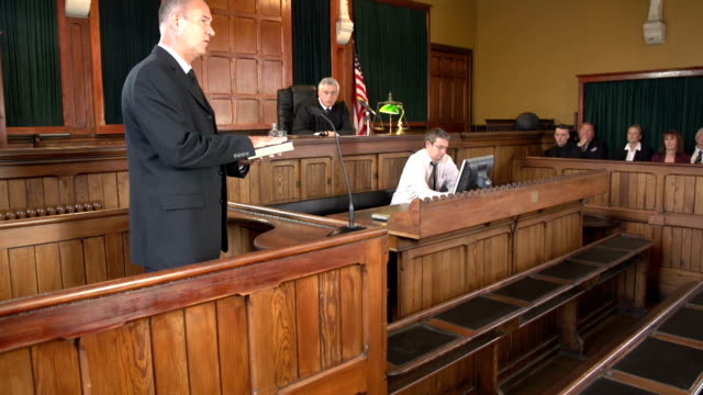 Witness in Court taking an oath, USA Courtroom with Judge