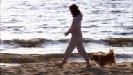 A woman and a dog playing at a beach Sweden.