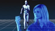 MULTIPLE EXPOSURE CGI Woman and anatomical model of man