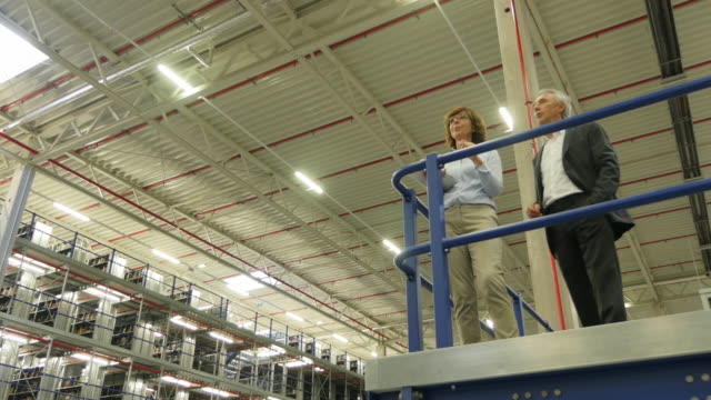 Woman and man managers standing over their warehouse
