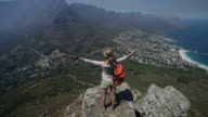 Woman arms outstretched on top of Lion's head