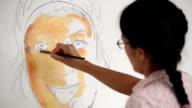 Woman Artist Oil Painting Portrait