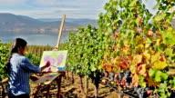 Woman Artist Oil Painting Vineyard