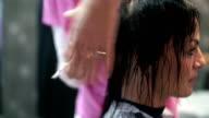 Woman at hairdressing salon.