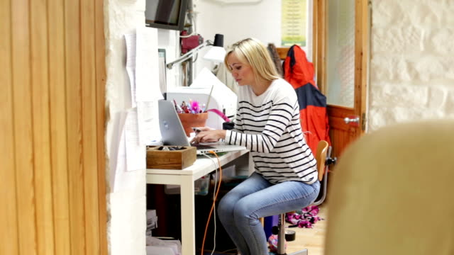Woman at home using internet banking