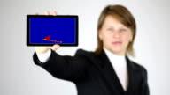 Frau Geschäftsfrau arbeiten mit virtuellen Bildschirm
