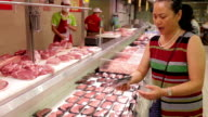 Woman chooses meat in supermarket /Xi'an, Shaanxi, China