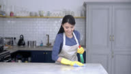 Woman cleaning the kitchen counter with a cloth and spray