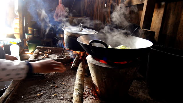 Woman cooking with traditional in Laos, Asia