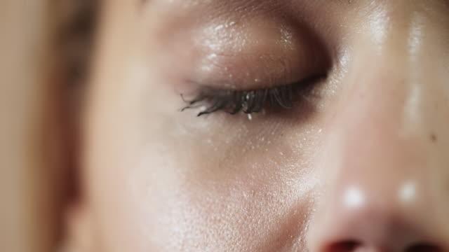 Woman crying closeup