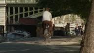 WS Woman cycling towards camera along Seine River, Port de la Turnelle, Paris, France