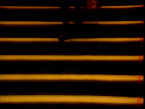 Woman dressed in coat and with bag walks down carpeted stairs seen from shoulders down only