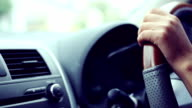 woman driving car, hand hold steering wheel