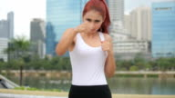 Woman during fitness and boxing