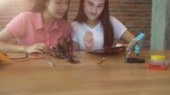 Frau Ingenieur Entwicklung auf Roboter