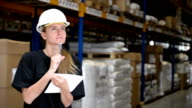 Woman engineer works in distribution warehouse