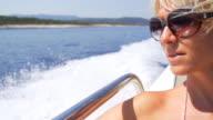 HD SUPER SLOW MO: Woman Enjoying The Sailing